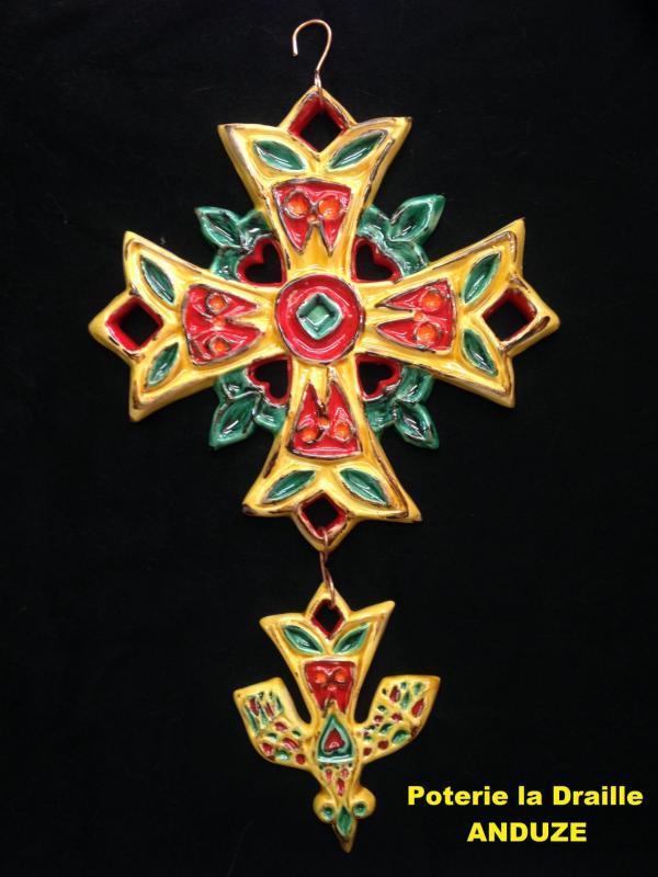 Img 4492 jpg croix decoree jaune rouge vert