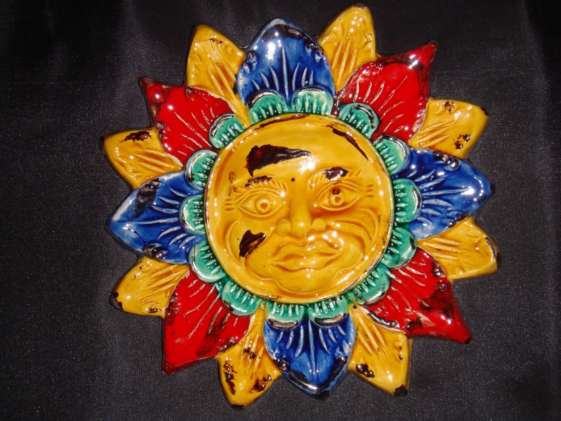 Pt soleil bleu rouge poterie la draille